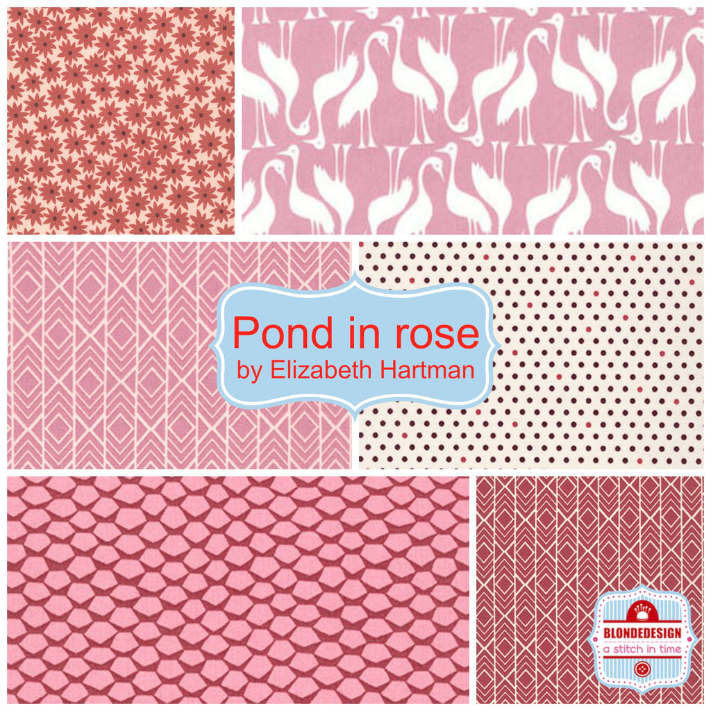Pond in Rose by Elizabeth Hartman for Robert Kaufman x 6