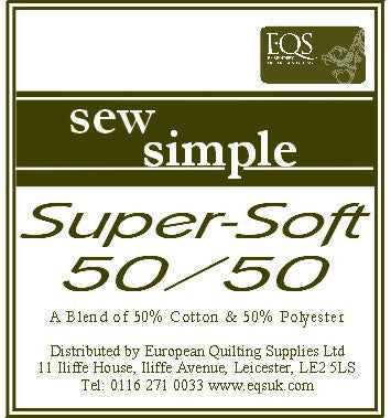 Sew Simple Quilt Light 50-50% Cotton / Polyester Wadding