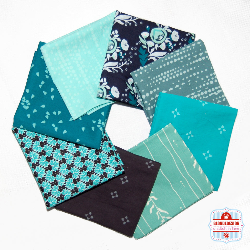 Remix Teal Fabric Bundle x 8