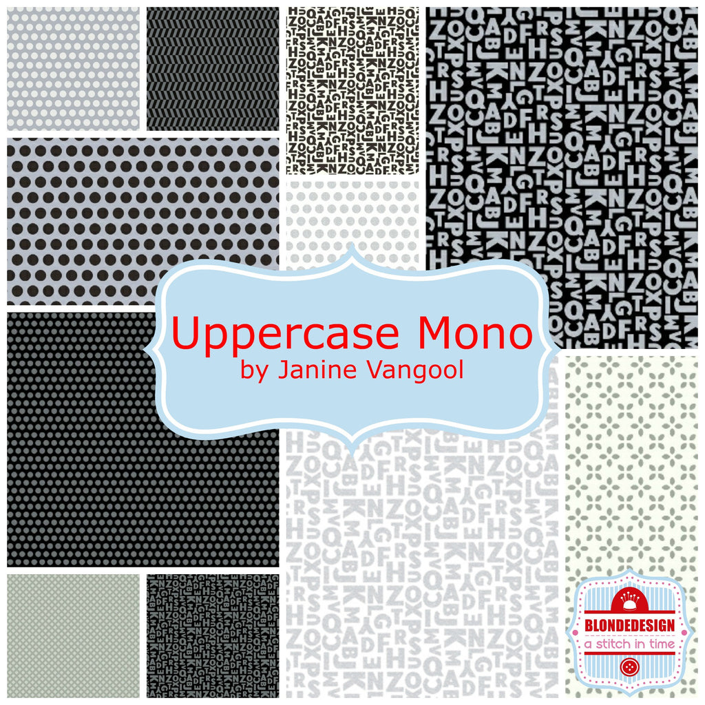 PRE-ORDER  Uppercase monochrome by Janine Vangool for Windham Fabrics x11