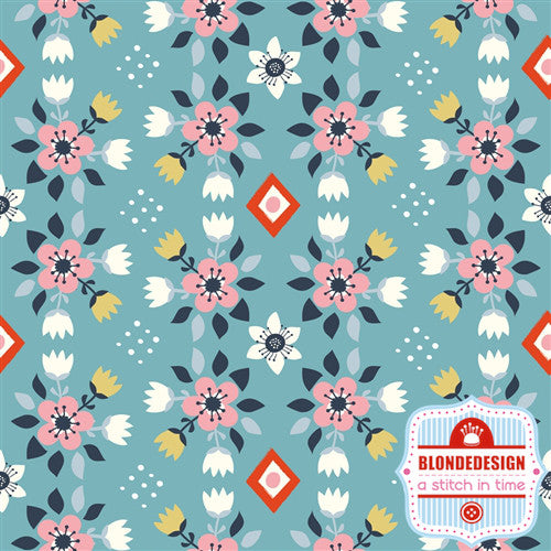 Flowerbed Blue - Wildland by Miriam Bos for Birch Organic Fabrics