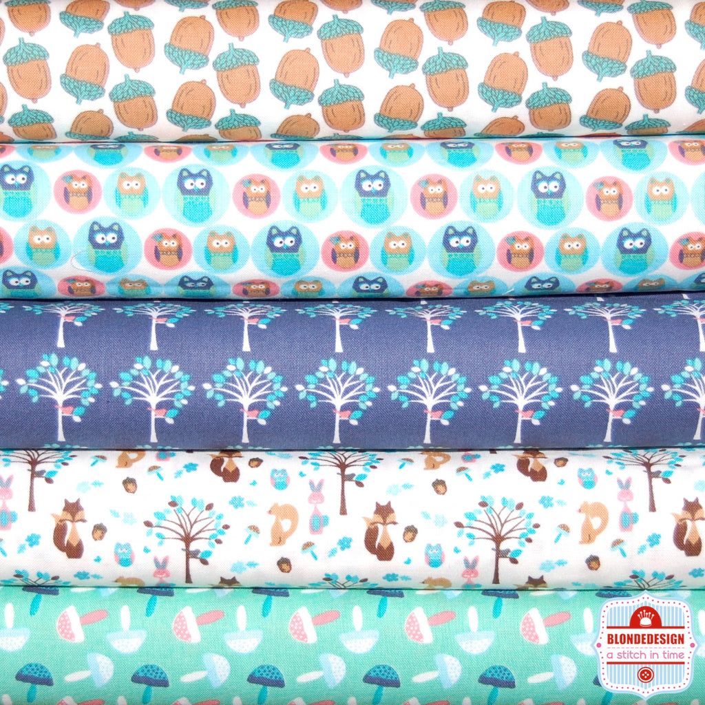 Woodland Animals collection in Aqua Bundle x 5