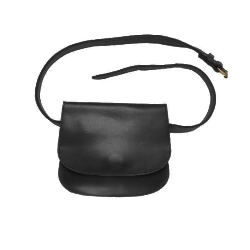 Classic new 100% leather belt bag, handmade in Ethiopia. Best hands free way to carry your essentials. 8.5 inches wide by 7 inches tall and 1 inch deep. Adjustable belt.  Black color