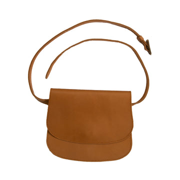 Sophisticated new 100% leather belt bag, handmade in Ethiopia. Best hands free way to carry your essentials. 8.5 inches wide by 7 inches tall and 1 inch deep. Adjustable belt.  Camel color