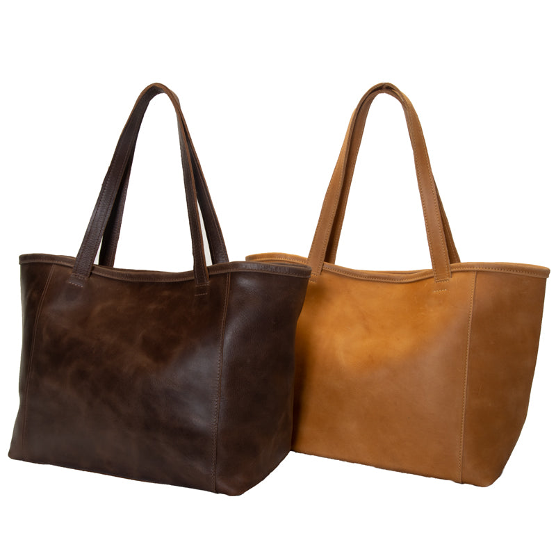 Large Ethiopian leather tote, optional interior snaps, attached key clasp, 19 by 11 by 6.5 inches, 1 inch wide handles