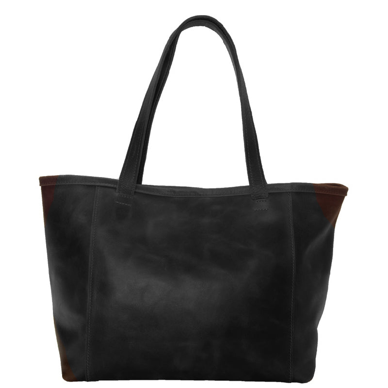 Large Ethiopian leather tote, comfort 1 inch wide shoulder straps, spacious interior, key clasp, 3 interior pockets, carry your laptop books and more, black color