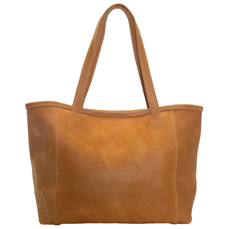 Large Ethiopian leather tote, optional interior snaps, attached key clasp, 19 by 11 by 6.5 inches, 1 inch wide handles, 3 interior pockets, camel color