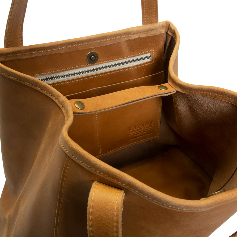 Ethiopian large leather tote interior, optional interior snaps for security, zippered pocket and 2 open pockets, Handmade by artisans