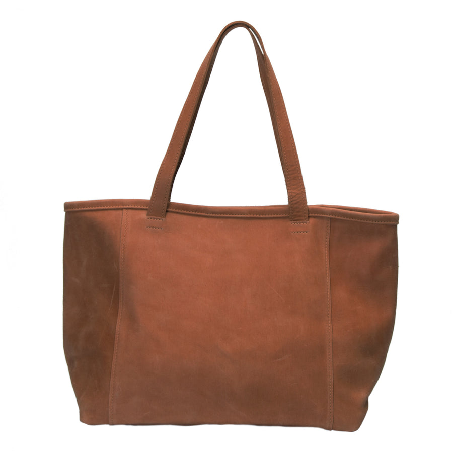 Large Ethiopian leather tote, comfort 1 inch wide shoulder straps, spacious interior, key clasp, 3 interior pockets, carry your laptop books and more, cognac color