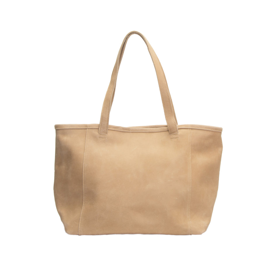 Ethiopian large leather tote, optional interior snaps for security, zip pocket and 2 open pockets, Handmade by artisans sand color