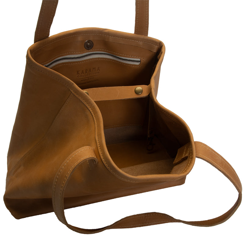 Ethiopian large leather tote interior, optional interior snaps for security, zippered pocket and 2 open pockets, Handmade by artisans, camel color