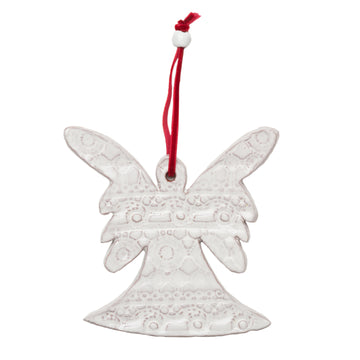 Ceramic Angel with a beautiful lace pattern baked into the white glaze. Tied with a red velvet ribbon and white ceramic bead. Each ornament comes wrapped and tagged. Handmade with dignity in Haiti. 4 by 4.5 inches. Perfect for giving as a gift.