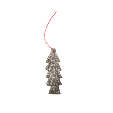 The small tree ornament is carefully handcrafted in Haiti from recycled steel drums. 3.5 by 1.5 inches. Tied with a red string for hanging.