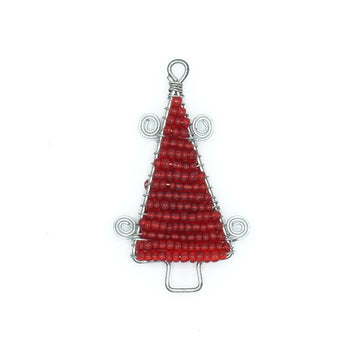 Red Christmas tree shaped ornament. Handmade with dignity in Tanzania by Maasai women. Made of tiny red glass beads strung on wire. 1 inch wide by 3 inches tall