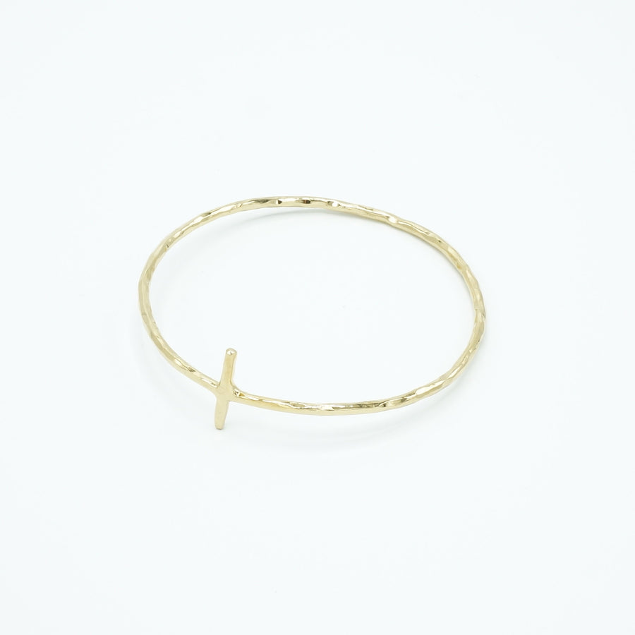 Cross Bangle - Gold