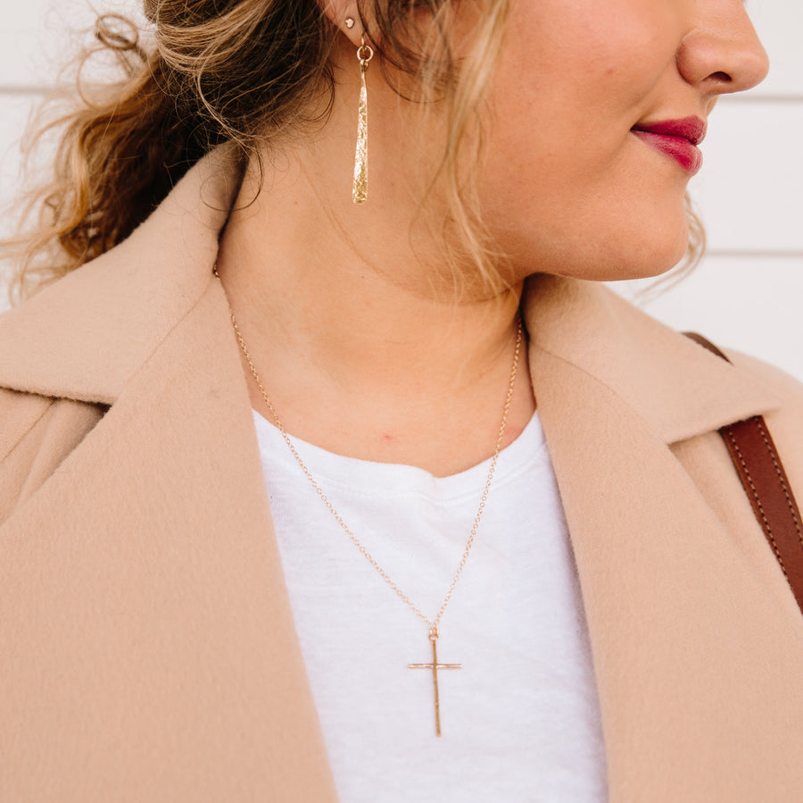 Cross Drop Necklace - Gold