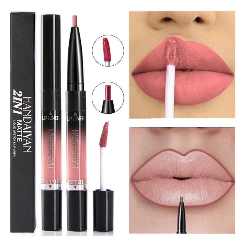 2 IN 1 Matte Liquid Lipstick & Lips Liner Pencil