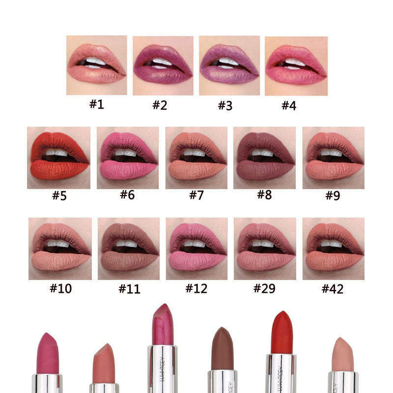 Matte And Pearlescent Waterproof Nude Lipsticks