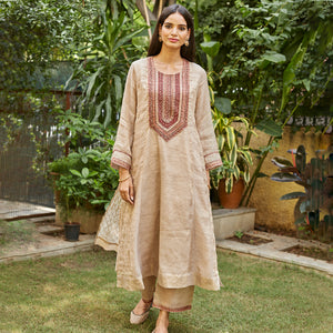 Almond Scarlet Embroidered Kurta Set