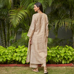 Load image into Gallery viewer, Almond Zari Embroidered Tissue Kurta with Almond Dupatta