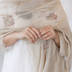 Beige Embroidered Dupatta