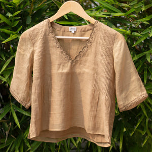 Beige Embroidered Pintuck Blouse