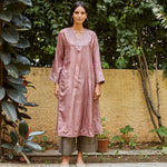 Load image into Gallery viewer, Blush Embroidered Silk Kurta