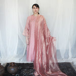 Load image into Gallery viewer, Blush Embroidered Tissue Kurta Set