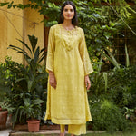 Load image into Gallery viewer, Canary Yellow Woven Dots Kurta Set
