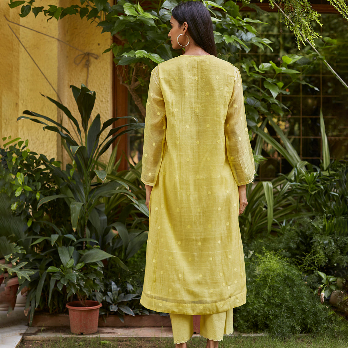 Canary Yellow Woven Dots Kurta Set