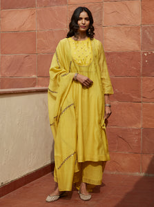 Canary Yellow Zardozi Embroidered Kurta Set