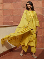 Load image into Gallery viewer, Canary Yellow Zardozi Embroidered Kurta Set