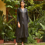 Load image into Gallery viewer, Charcoal Embroidered Silk Kurta