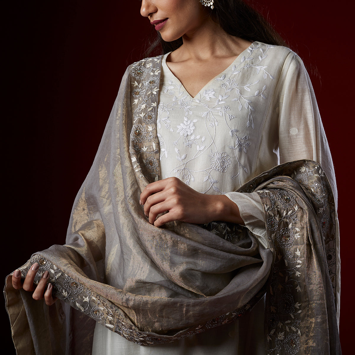 Metallic Grey Tissue Dupatta