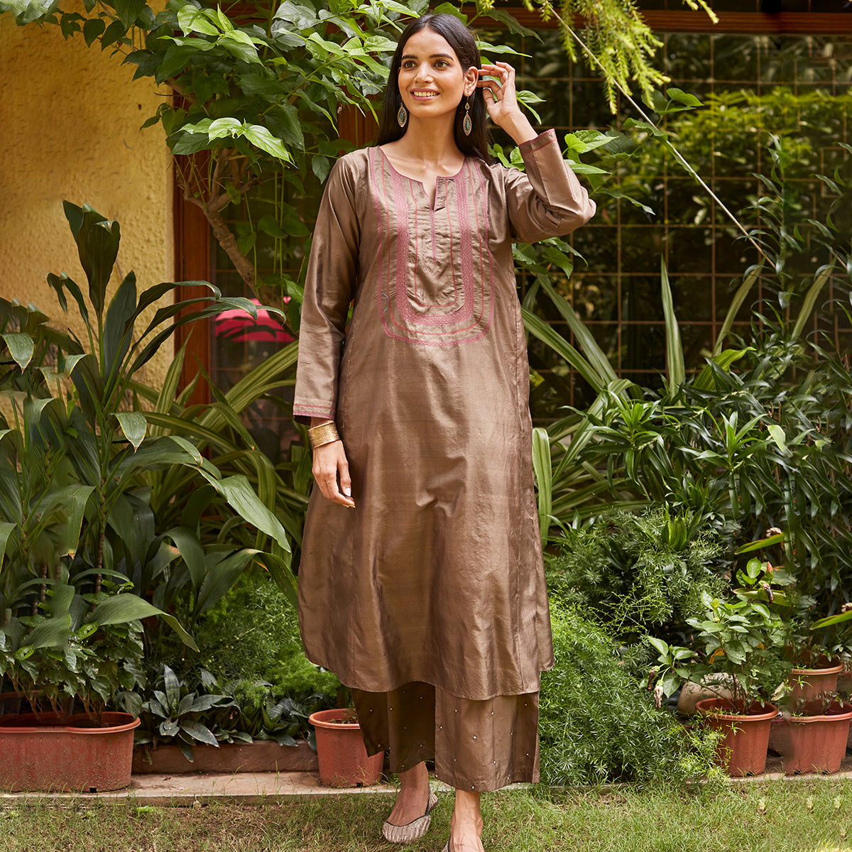 Hazel Embroidered Silk Kurta