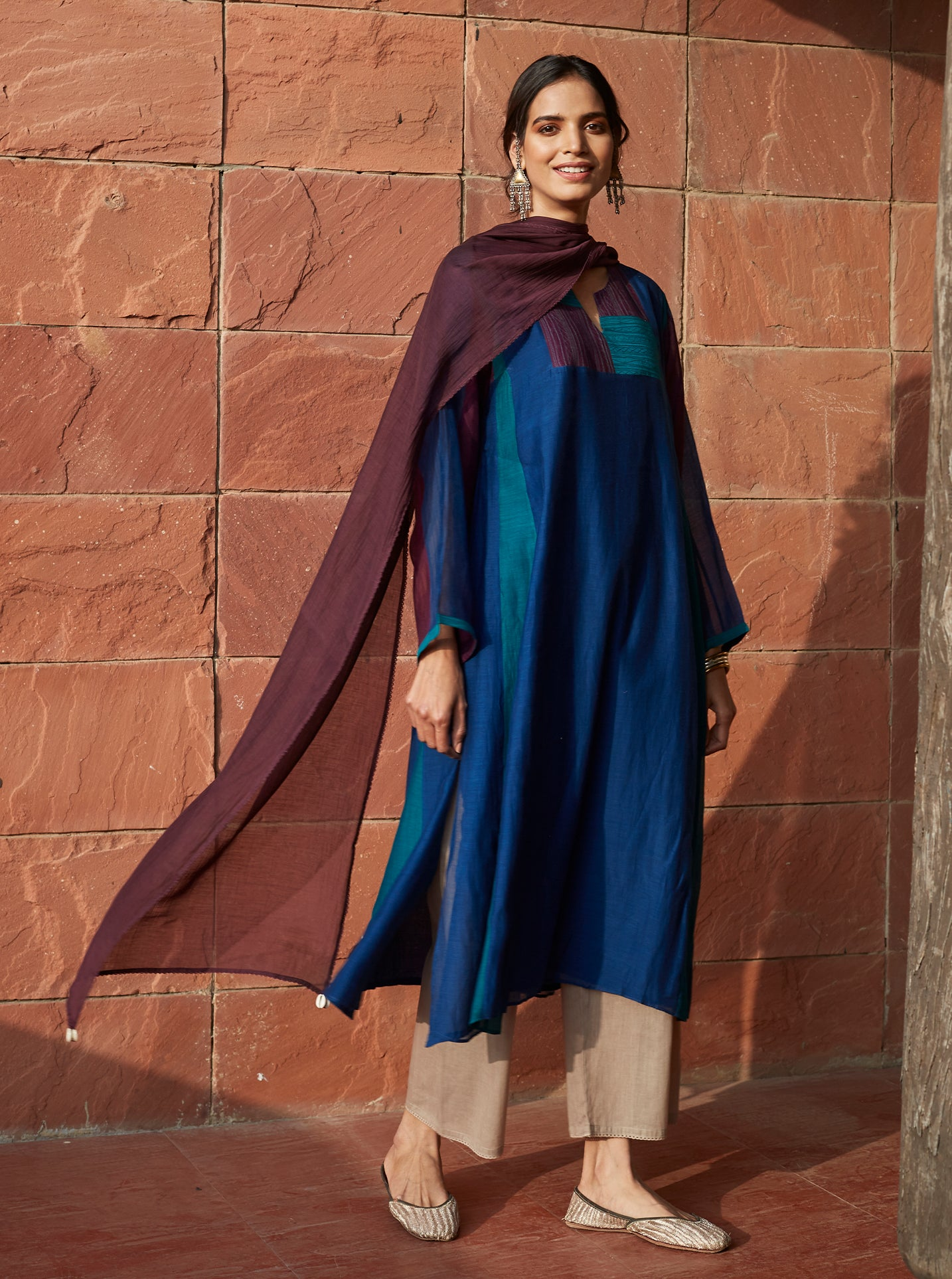 Indigo and Plum Colour-Block Kurta Set