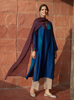 Load image into Gallery viewer, Indigo and Plum Colour-Block Kurta Set