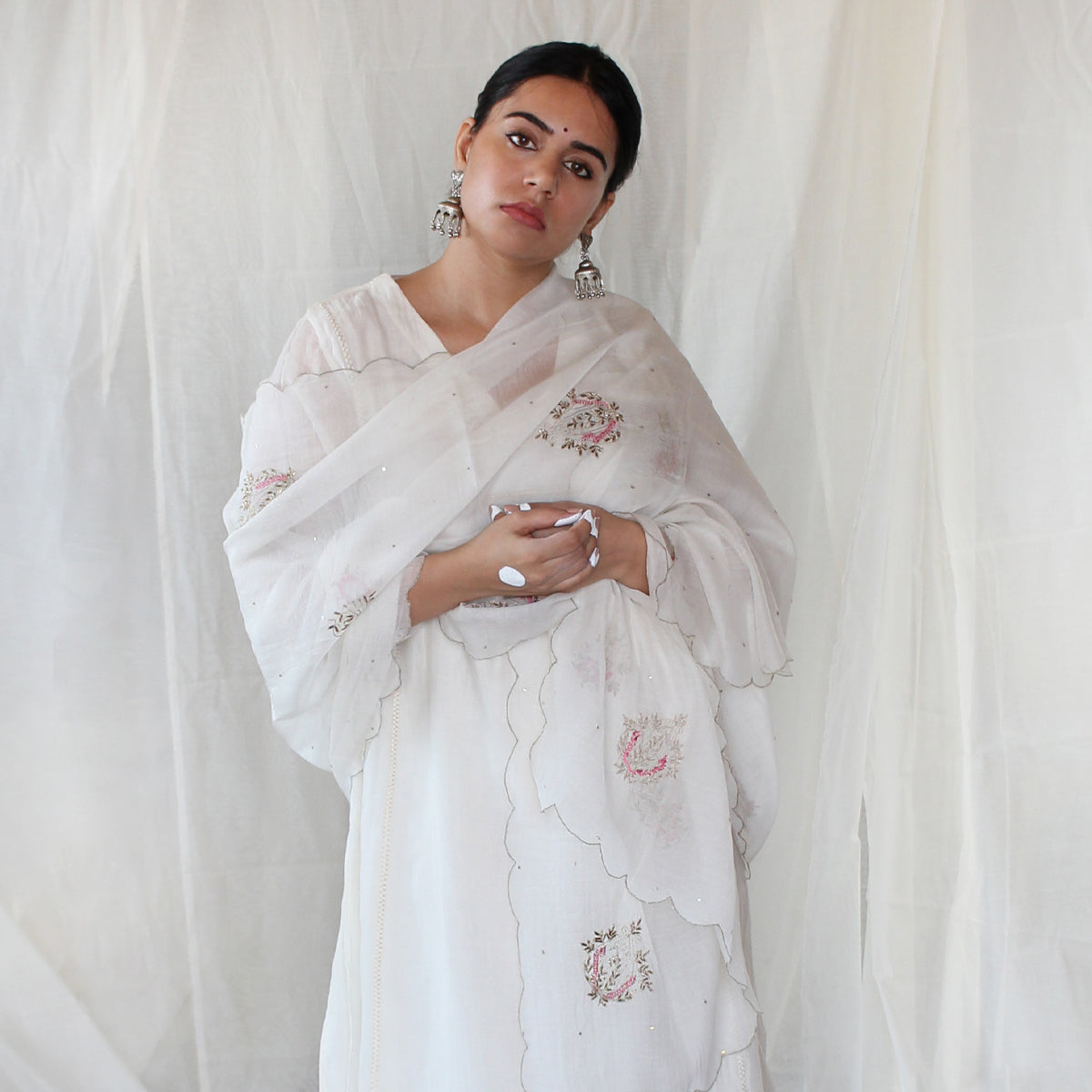 Ivory Embroidered Dupatta