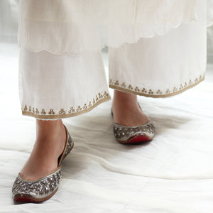Ivory Embroidered Farshi
