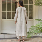 Load image into Gallery viewer, Ivory and Emerald Embroidered Kurta Set