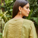 Load image into Gallery viewer, Leaf Green Embroidered Tissue Kurta Set
