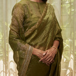 Load image into Gallery viewer, Leaf Green Embroidered Tissue Saree