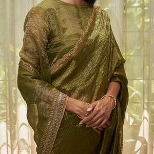 Leaf Green Embroidered Tissue Saree