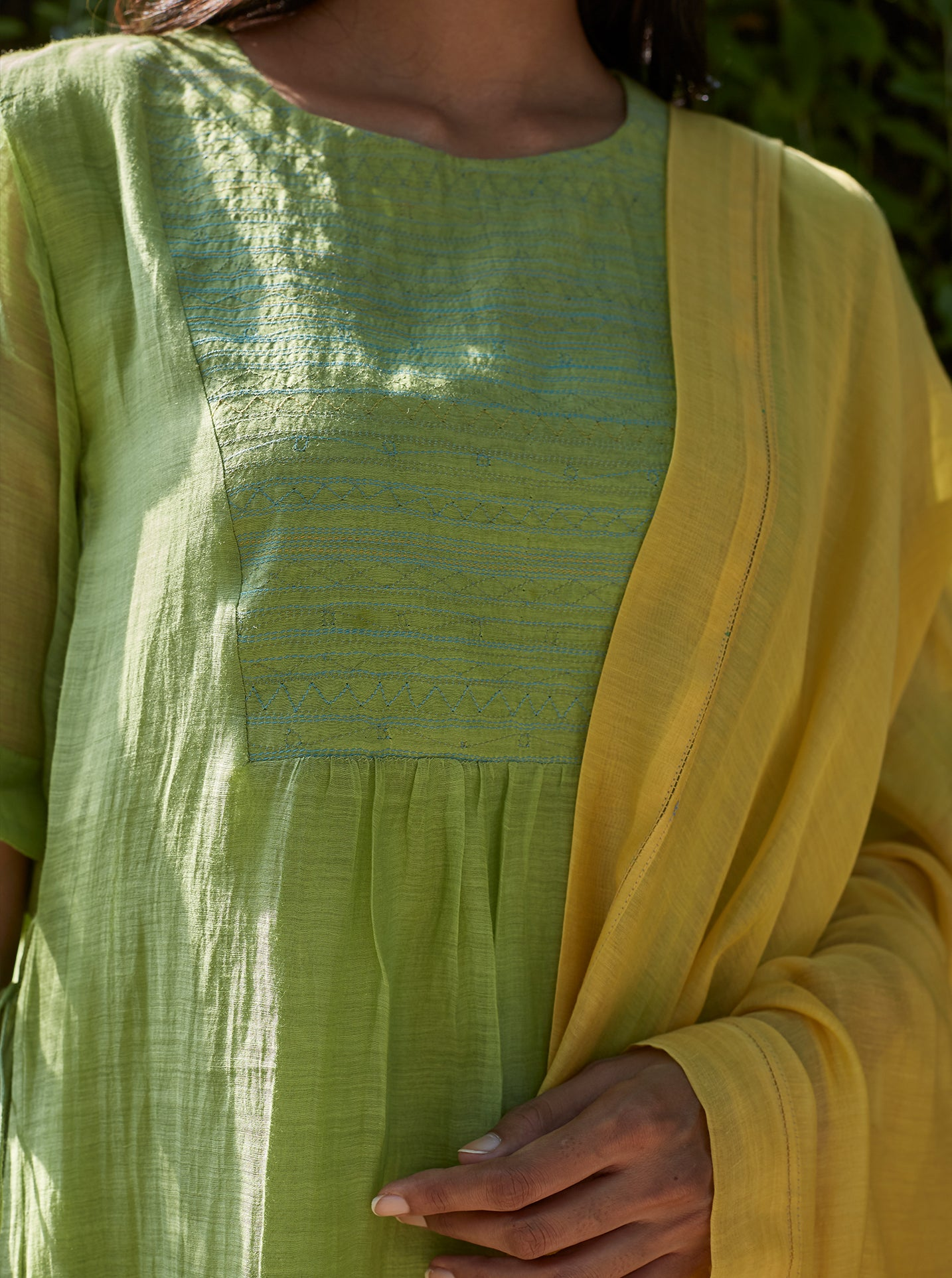 Lime Embroidered Kurta