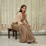 Load image into Gallery viewer, Metallic Grey Embroidered Tissue Saree