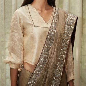 Metallic Grey Embroidered Tissue Saree