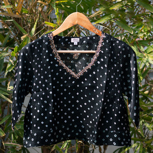 Midnight Black Bandhani Embroidered Blouse