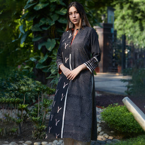 Midnight Black Contrasting Prints Kurta