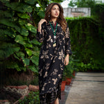 Load image into Gallery viewer, Midnight Black Floral Print Kurta