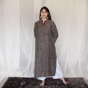Midnight Black Geometric Print Kurta